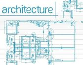 Architectural blueprints over a blue background — Stock Photo