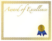 Illustration of a certificate. Award of Excellence with golden ribbon. — Stock Photo