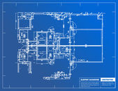 Sample of architectural blueprints over a blue background — Stock Photo