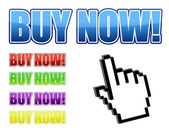Vector hand cursor with buy now signs. Vector File available — Stock Photo
