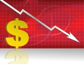 Business worries with dollar losing graph. — Stock Photo