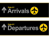 Aankomst en vertrek luchthaven tekenen geïsoleerd op een witte achtergrond. — Stockfoto