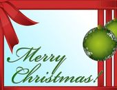 Christmas greeting card with decorative red and green ornaments — Stock Photo