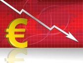 Losing euro forex graph — Stock Photo