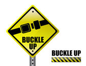 Detail metal buckle up street sign isolated over a white background — Stock Photo