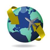 Avião voando ao redor do globo — Foto Stock