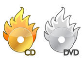 Burning CD / DVD icon over a white background — Stock Photo