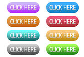 Click here web button in different colors isolated over a white background. — Stock Photo