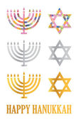 Traditional Hanukkah menorah and davids stars isolated over a white backgro — Stock Photo