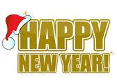 Texto de oro ¡ feliz año nuevo con un sombrero de santa. — Foto de Stock