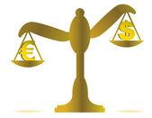 Ilustracja euro i dolar salda na białym tle — Zdjęcie stockowe
