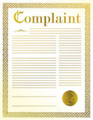 Complaint legal document illustration design with golden seal — Stock Photo