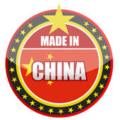 Made in China stamp isolated over a white background. — Stock Photo