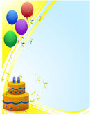 Happy birthday card with balloons rays of light and birthday cake — Stockfoto