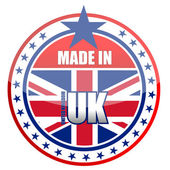 Made in uk stamp isolated over a white background. — Foto de Stock