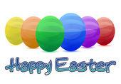 Feliz colorido los huevos de pascua aislados sobre un fondo blanco — Foto de Stock