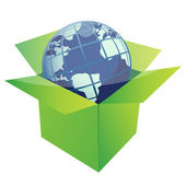 Globe illustration design inside a green box isolated over a white backgrou — Stock Photo