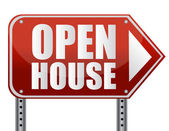 Open house sign isolated over a white background. — Stock Photo