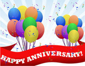 Happy anniversary balloons and banner illustration design — Stock Photo