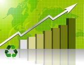 Green Business graph with world background. Vector File also available / Gr — Stock Photo