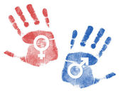 Male and female Handprint signs — Stock Photo