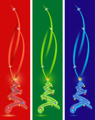 Happy holiday card with three different color christmas trees. merry christ — Stock Photo