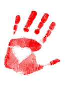 Illustration of a hand-print with a heart. Vector available. / love Hand pr — Stock Photo