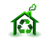 Green house with recycle sign in a white background — Stock Photo