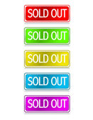 Different color Sold out buttons isolated over a white background — Stock Photo