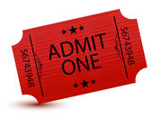 Admit one movie ticket isolated on white — Stock Photo