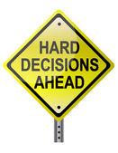 Decisioni difficili avanti giallo segnale stradale sopra uno sfondo bianco. vettore fil — Foto Stock