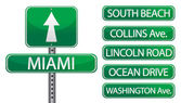 Miami Florida street signs isolated over a white background — Stock Photo