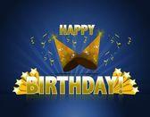 χαρούμενα γενέθλια λογότυπο υπογράψει με χρυσά αστέρια ans ακτίνες του φωτός και κομματικές καπέλα — Φωτογραφία Αρχείου