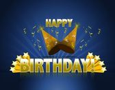 Happy birthday logo sign with golden stars ans rays of light and party hats — Stock Photo
