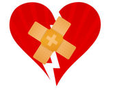 Broken heart with a band aid illustration design over white — Stock Photo