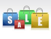 Ilustración bolsas multicolores, relacionadas con las ventas diseño. — Foto de Stock