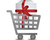 Dárkové nákupní vozík — Stock fotografie