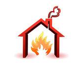 Burning house illustration design isolated over a white background — Stock Photo
