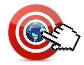 Cursor hand clicks on search engine marketing SEM world — Stock Photo