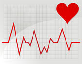 Illustration depicting a graph from a heart beat and a heart. — Stock Photo