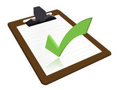 Clipboard with checkmark illustration design over a white background — Stock Photo