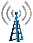 Blue wireless technology tower isolated over a white background — Stock Photo