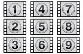 Highly detailed film countdown numbers. (one Through nine) — Stock Photo