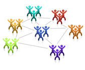 Networking teamwork graph isolated over a white background. — Stock Photo