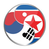 Ying yan symbol with the North Korea and South korea flags. — Stockfoto