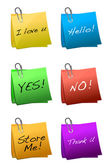 Post it short messages isolated over a white background. — Foto Stock