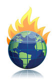 Brandende wereldbol illustratie ontwerp icoon geïsoleerd over wit — Stockfoto