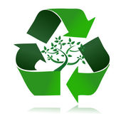 Clean environment - conceptual recycling symbol and green tree. — Stock Photo