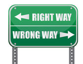 Street sign that reads Right Way, Wrong Way - great concept — Stock Photo