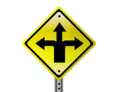 Three way isolated traffic sign. vector file also available. — Stock Photo